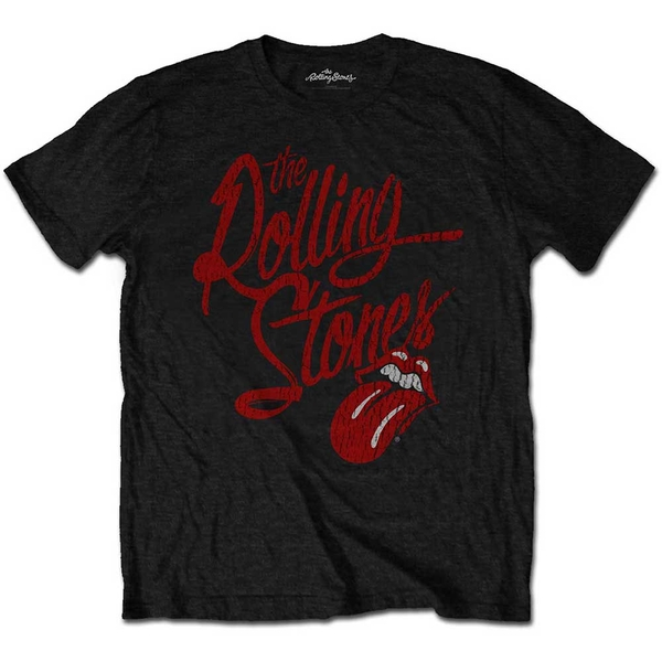 The Rolling Stones - Script Logo Unisex Medium T-Shirt - Black