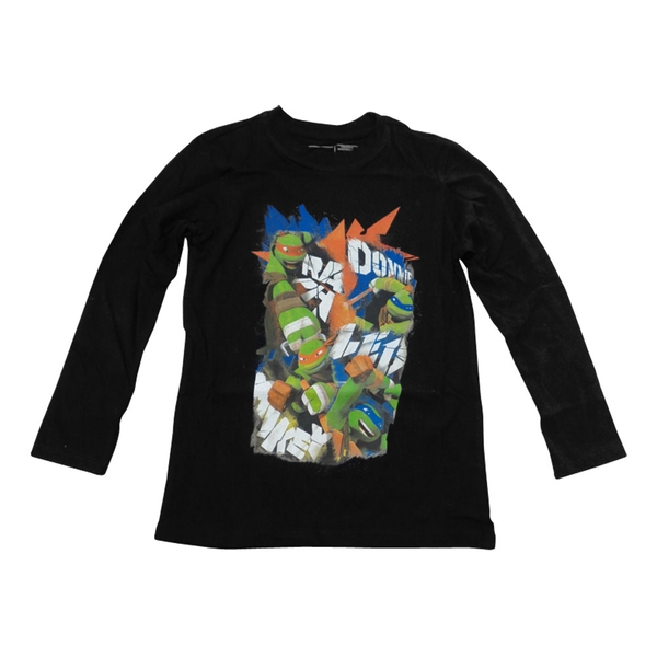 Teenage Mutant Ninja Turtles - Donnie, Raph, Leo and Mikey Long Sleeved T-Shirt Boys 10-12 years (black)