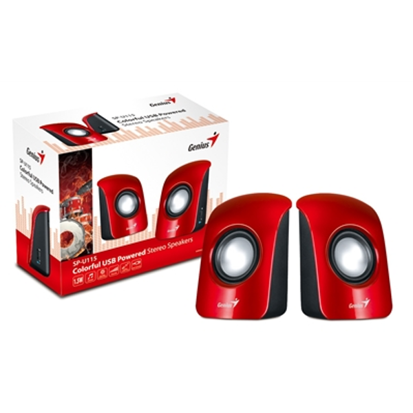 Genius SP-U115 Stereo USB Powered Speakers Red - Image 2