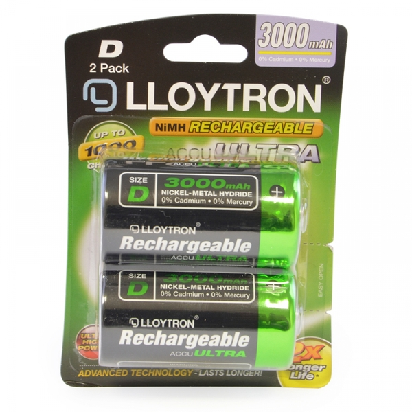 Lloytron B017 Rechargeable D Ni-MH Batteries 3000mAh 2 Pack