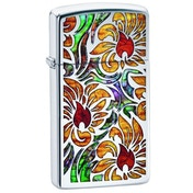 Zippo Fusion Floral Design High Polish Chrome Windproof Lighter