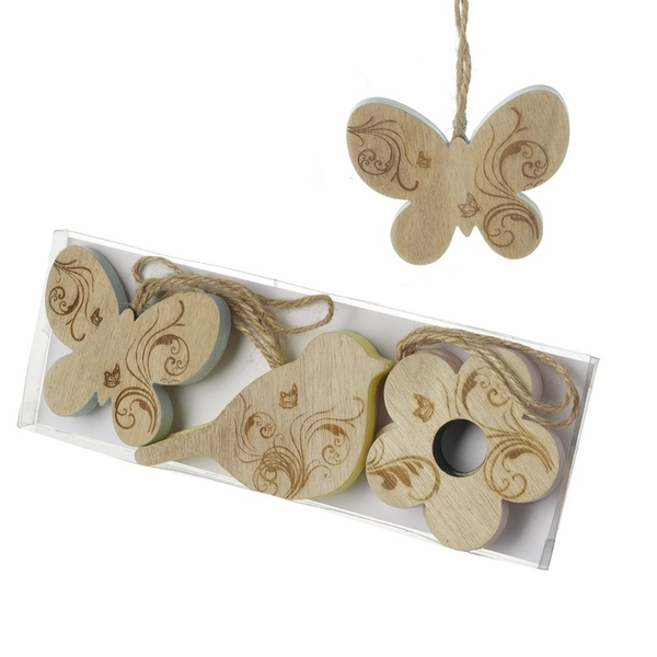 Set Of Wooden Hanging Decs By Heaven Sends