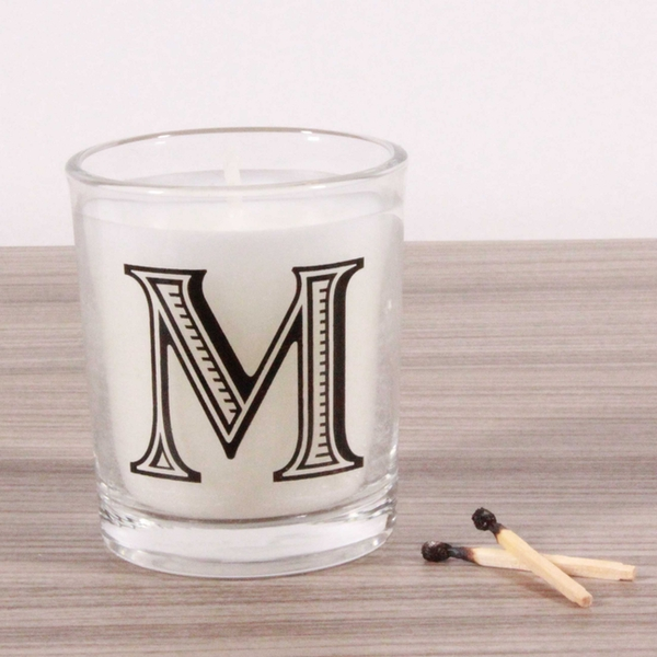 M Alphabet Candle in Votive Glass