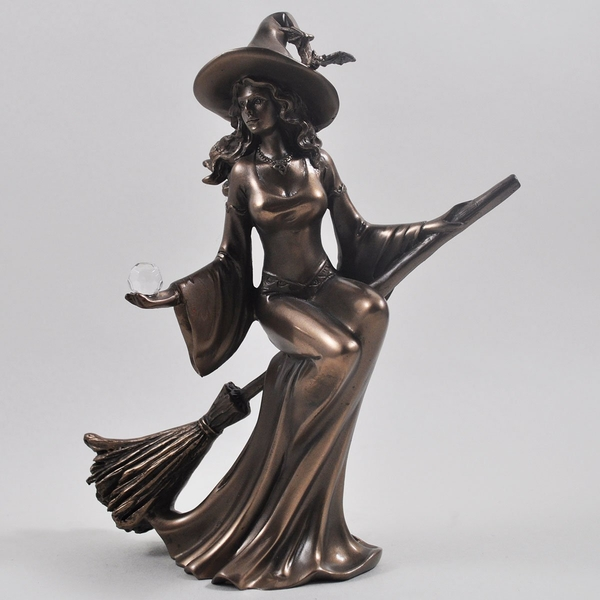 Witch Riding Broom Bronze Ornament 20cm
