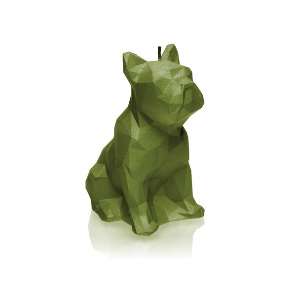 Olive Low Poly Bulldog Candle