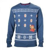 Nintendo Super Mario Bros. Men's Running Xmas Mario Medium Christmas Jumper