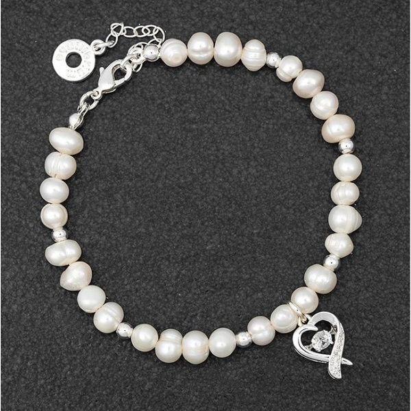 Freshwater Pearl & Silver Plated Beads Charm Bracelet