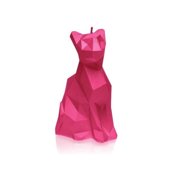 Dark Pink Low Poly Cat Candle