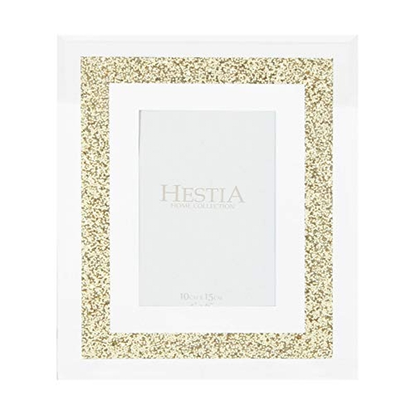 "4"" x 6"" - HESTIA? Glass Mirrored Gold Crystal Frame"
