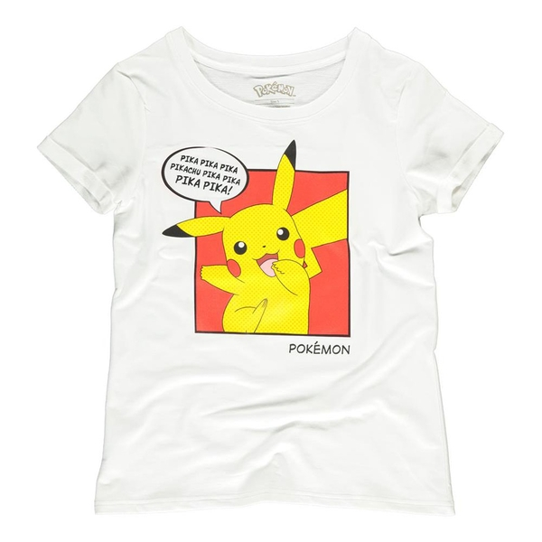 Pokemon - Pika Pika Pika PopArt Female Medium T-Shirt - White