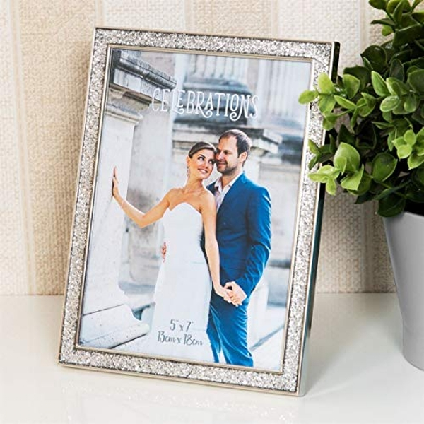 "5"" x 7"" - Celebrations Silver Glitter Epoxy Photo Frame"