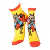 Marvel Comics Thor Adult Male Thor and Mjolnir Crew Socks 39/42 (Yellow)