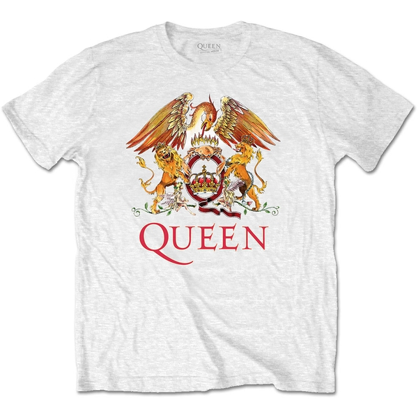 Queen - Classic Crest Unisex Medium T-Shirt - White