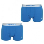 Lonsdale 2 Pack Mens Trunk Boxer Shorts Royal Blue & White Large