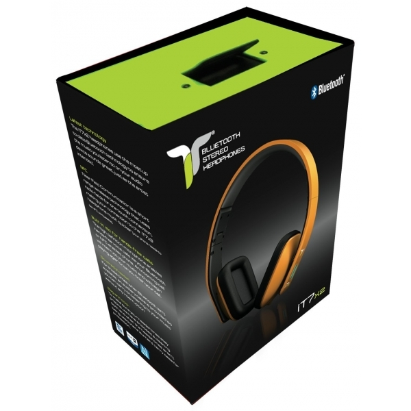 iT7x2 Foldable Wireless Bluetooth Headphones with Near Field Communication NFC Orange - Image 4