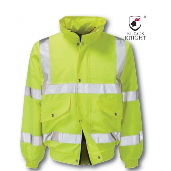 Black Knight Large Valiant High Visibility Bomber Jacket - Yellow