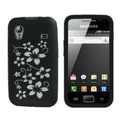 YouSave Accessories Samsung Galaxy Ace Floral Silicone Case - Black-White