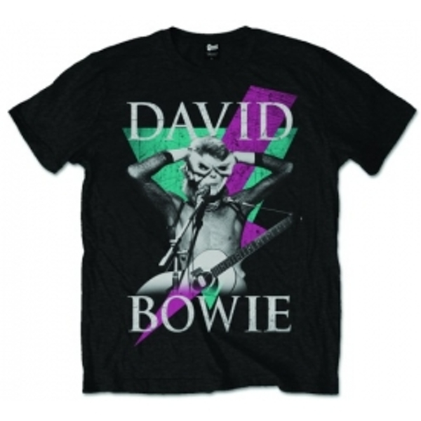 David Bowie Thunder Mens Black T Shirt: X-Large