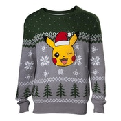 Pokemon - Pikachu Winking Christmas Men's Small Sweater - Multi-Colour