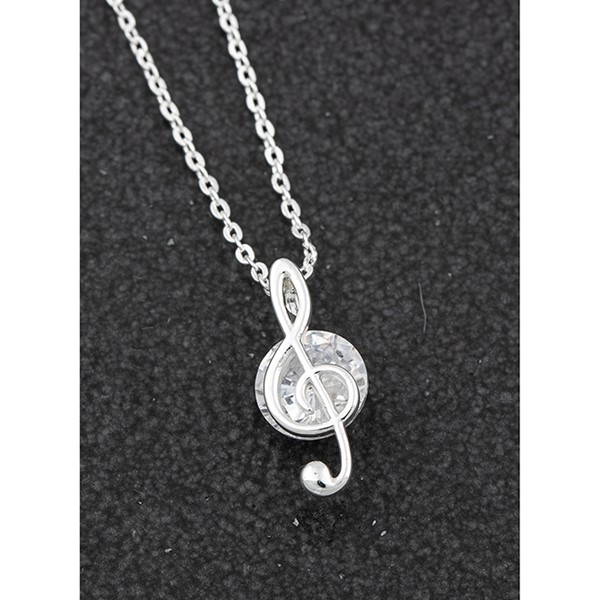 Music Collection Silver Plated Treble Clef Necklace