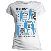 One Direction Silhouette Lyrics Blue on Wht Skinny TS: Small