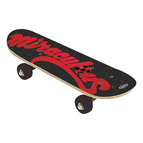 Miraculous Children's Ladybug - Children's 17-inch Wood Mini Skateboard Cruiser Skateboard, Three Years and Above, Unisex, Multi-colour (OMIR247)