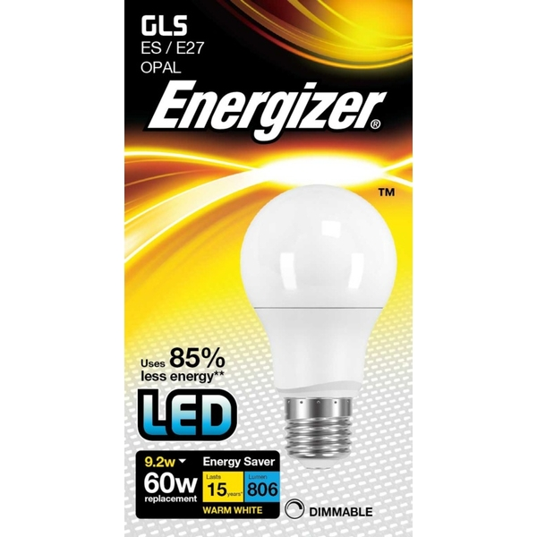 Energizer LED 806lm E27 Warm White Dimmable ES 9.2w