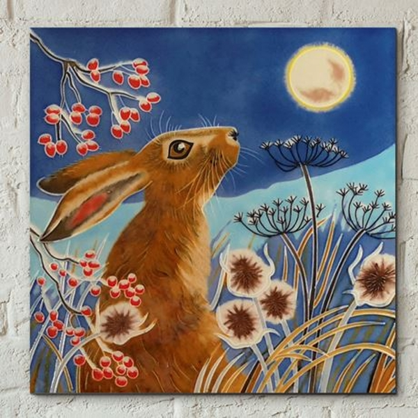 Tile 8x8 Frost Moon Hare Wall Art