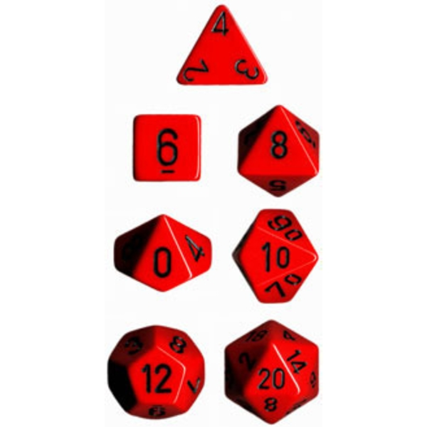 Chessex Opaque Poly 7 Dice Set - Red/Black