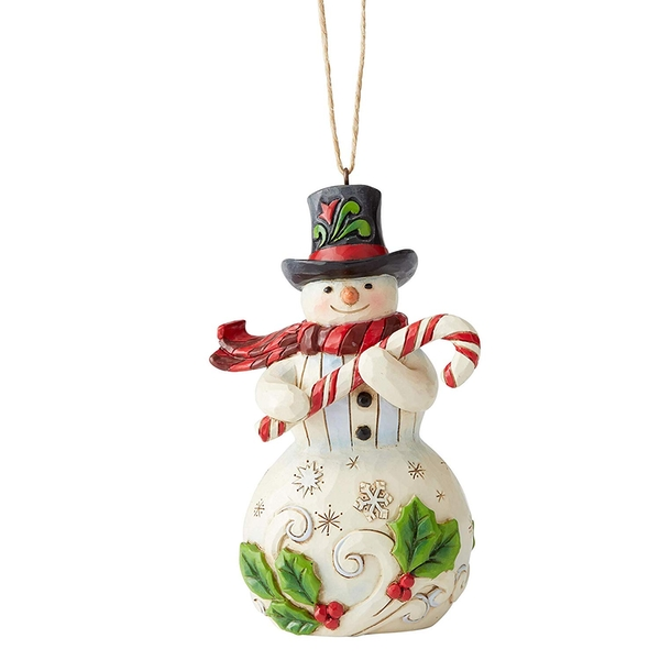 Snowman with Candy Cane Hanging Ornament