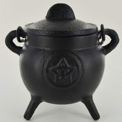 Pentagram Cast Iron Witch Cauldron (Small)