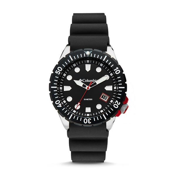 Pacific Outlander Black 3-Hand Date Black Silicone Watch