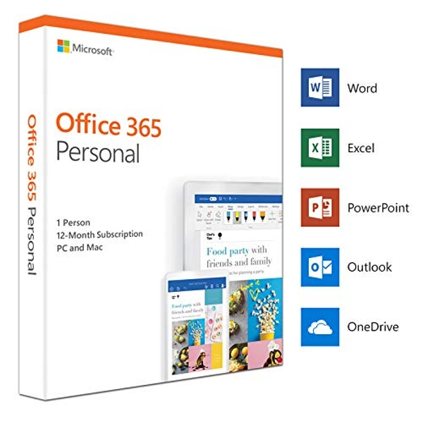 Microsoft Office 365 Personal 2019, 1 User, 1 Device, 1 Year Subscription,  32 & 64 bit, Medialess