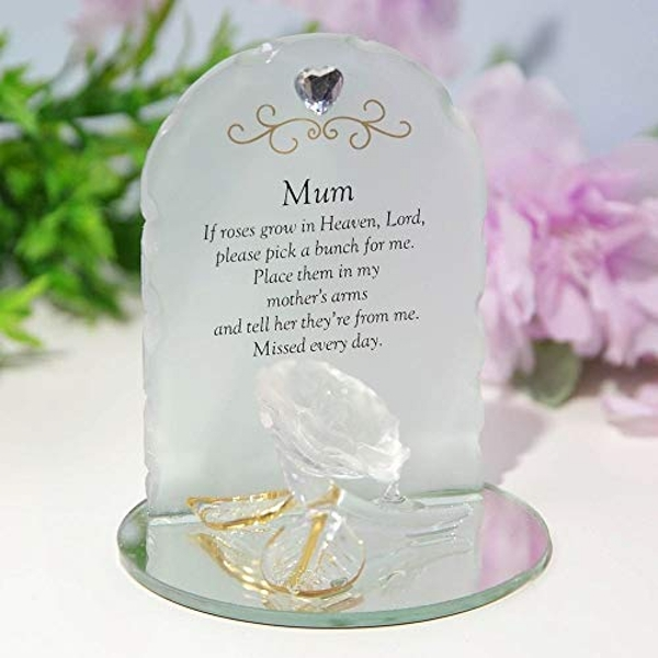 Thoughts Of You Glass Rose Sentiment Ornament - Mum