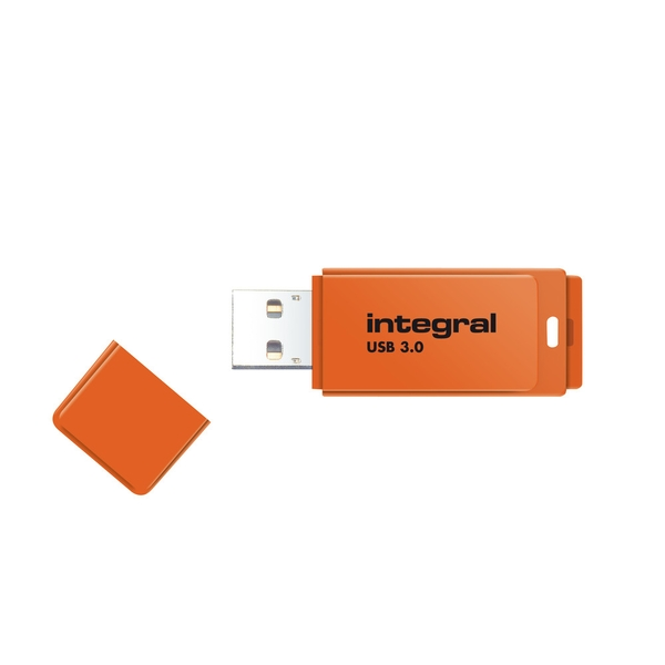 Integral 128GB USB3.0 Memory Flash Drive (Memory Stick) Neon Orange