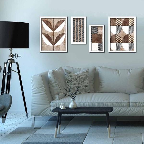 4P3040BCT001 Multicolor Decorative Framed MDF Painting (4 Pieces)