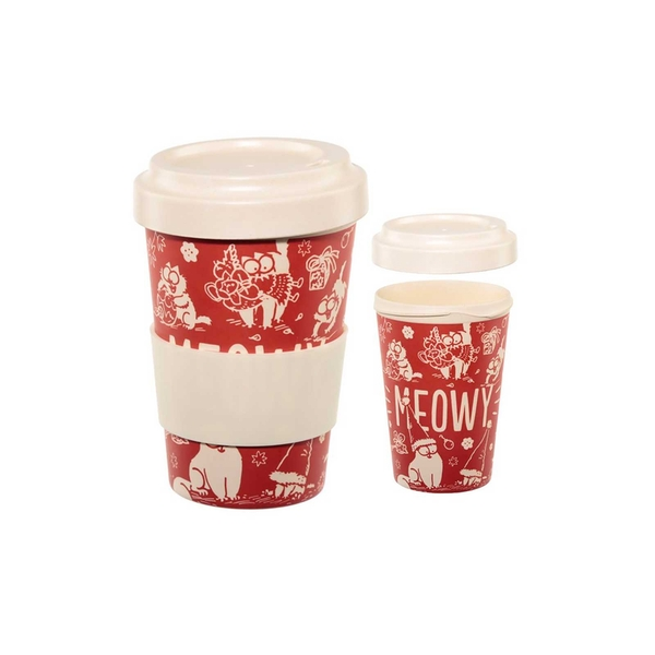 Simon & Cat Meowy Christmas Screw Top Bamboo Travel Mug