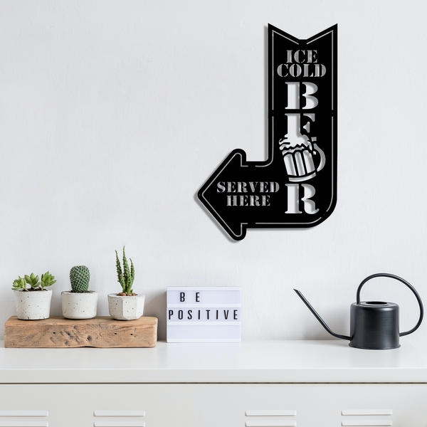 Ice Cold Beer Black Decorative Metal Wall Accessory