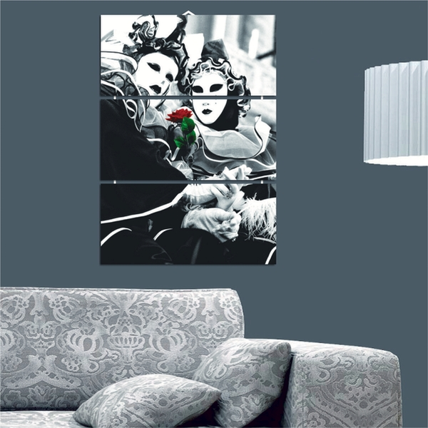 Masked People Decorative MDF Painting (3 Pieces)