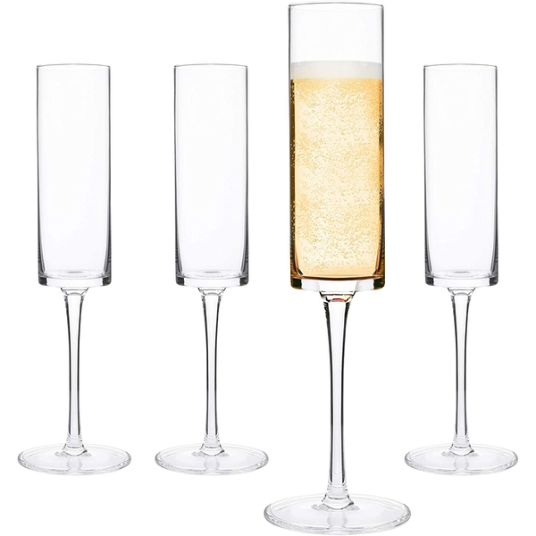 Set of 4 Edge Champagne Flutes | M&W Clear