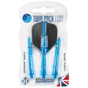 Harrows Twin Pack Dart Flight/Shafts Aqua