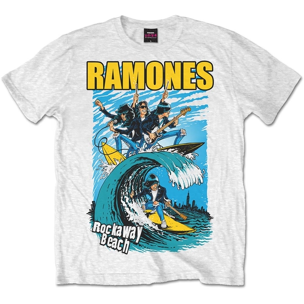 Ramones - Rockaway Beach Unisex X-Large T-Shirt - White