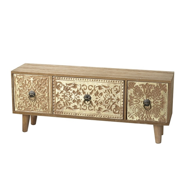 Gold And Wooden Drawers Chest By Heaven Sends