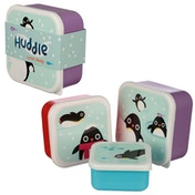 Cute Penguin Design Set of 3 Plastic Lunch Box