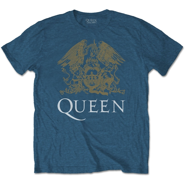 Queen - Crest Men's Medium T-Shirt - Indigo Blue