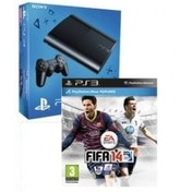 500GB Super Slim Console System Black + FIFA 14 + Arkham City GOTY + Arkham Department of Corrections Grey T-Shirt PS3