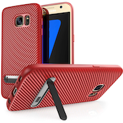 Samsung Galaxy S7 Carbon Fibre Textured Gel Case with Kickstand - Red