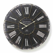 Large Distressed Black Antique Effect Kensington Wall Clock
