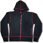 Urban Fashion Red Zip Red Stitch Women's Large Hoodie - Black