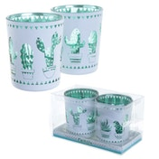 Cactus Glass Set of 2 Candleholder